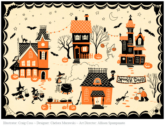 Craig Coss Illustrations For Pottery Barn Kids Tabletop Plates And Tablecloth  Halloween 2011